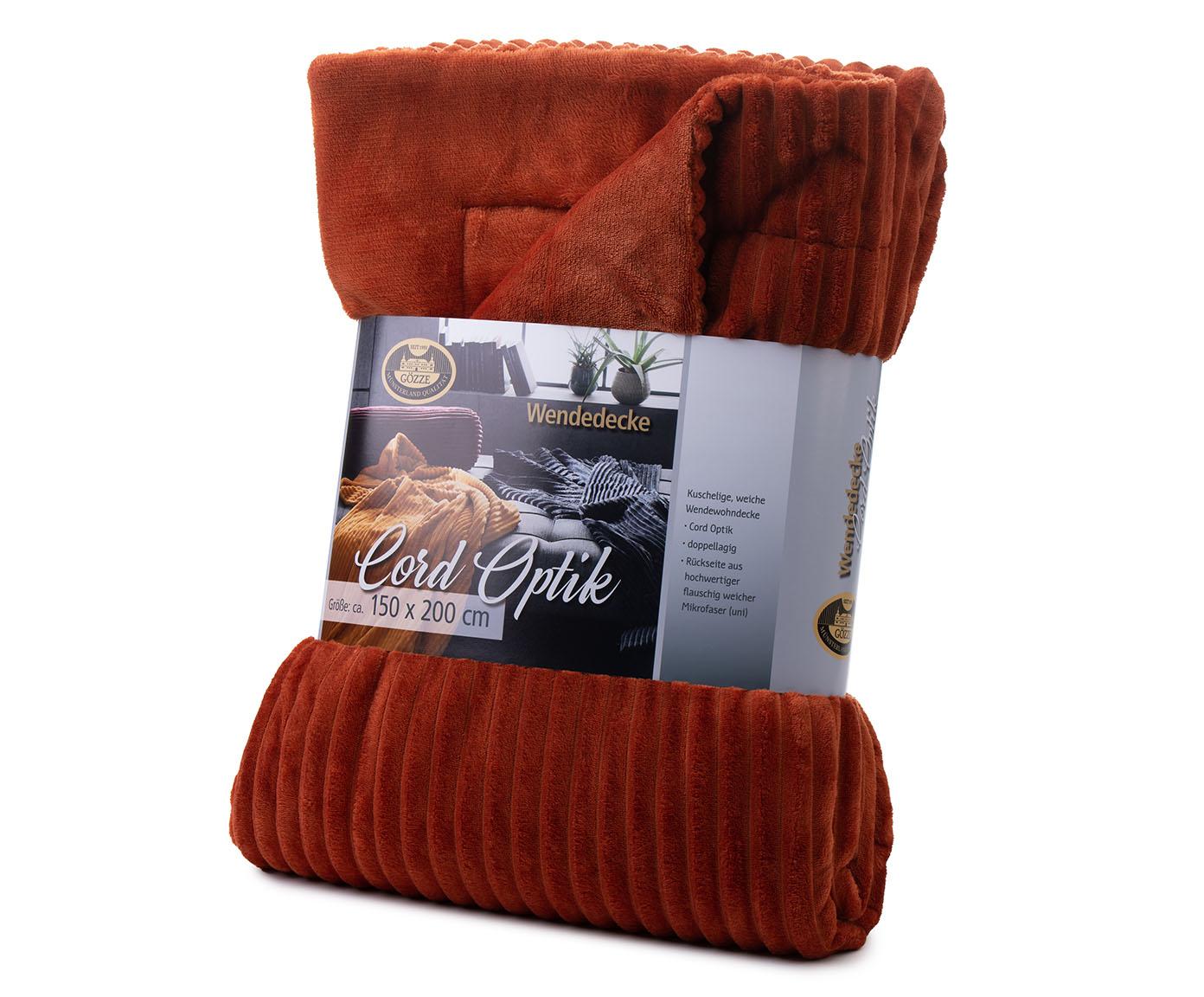 Blankets Cord Optik 150x200 cinnamon