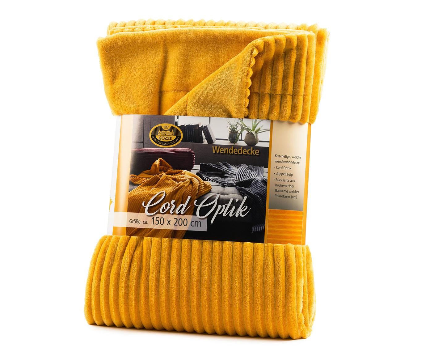 Blankets Cord Optik 150x200 mustard