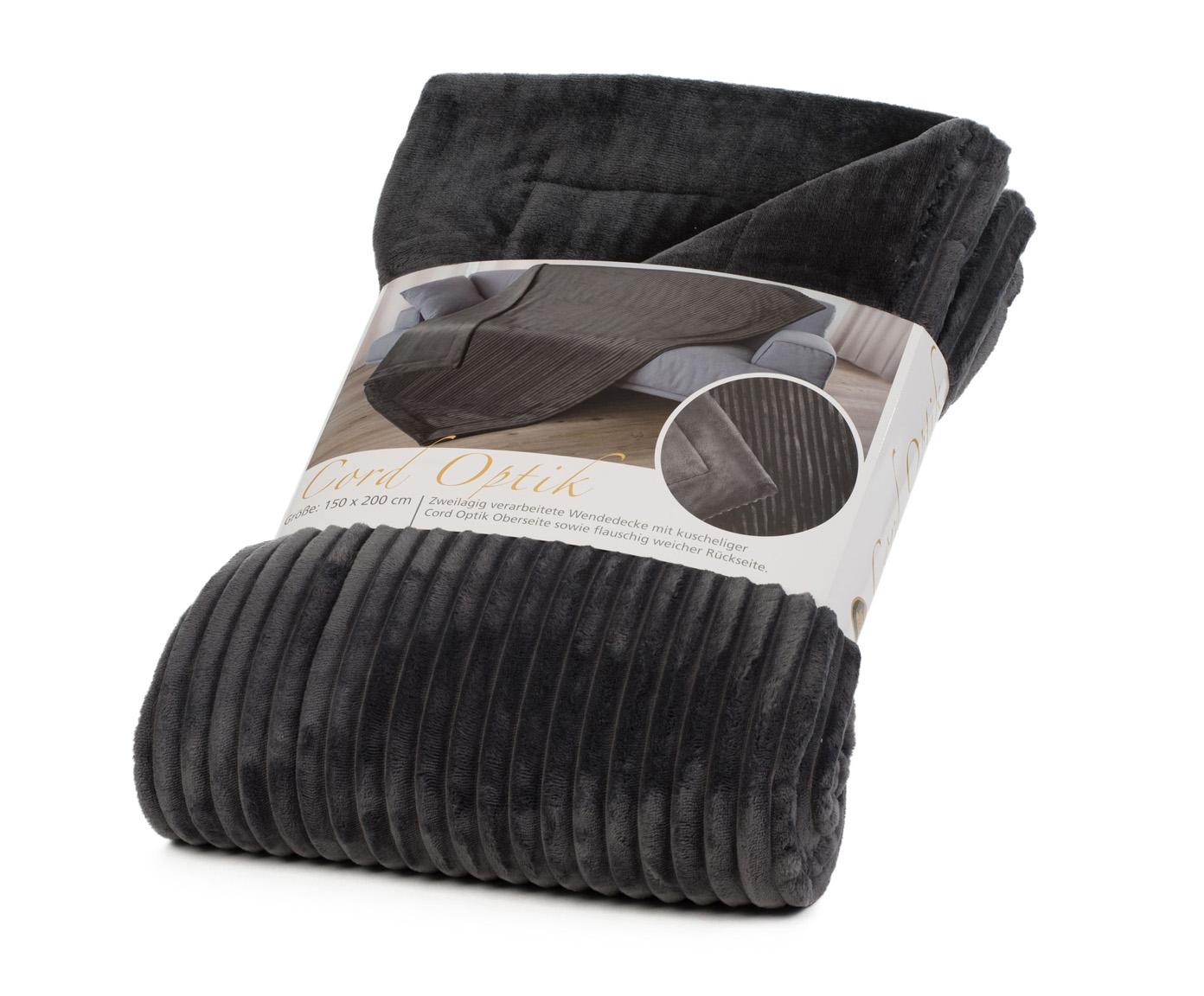 Blankets Cord Optik 150x200 anthracite