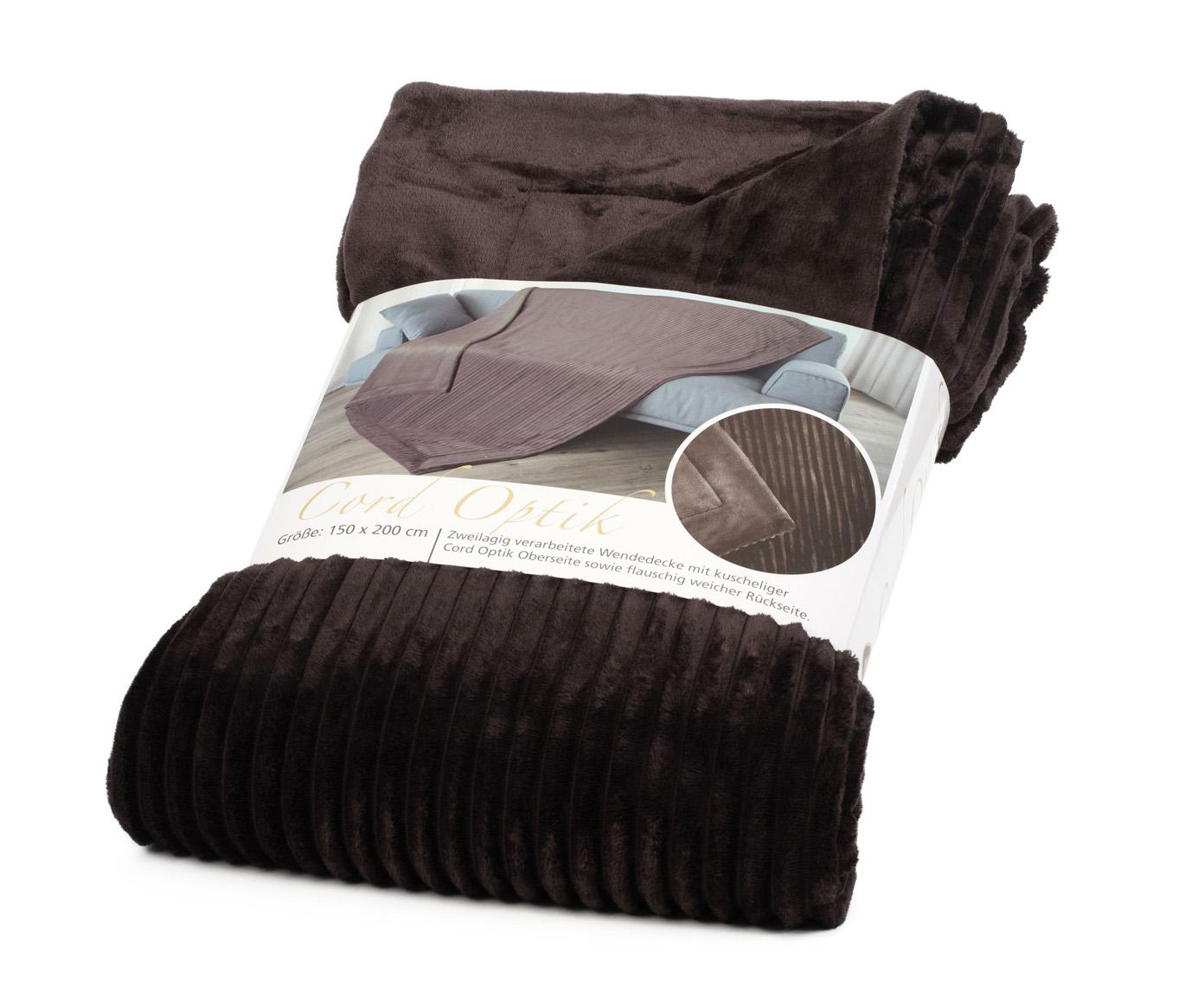 Blankets Cord Optik 150x200 dark brown