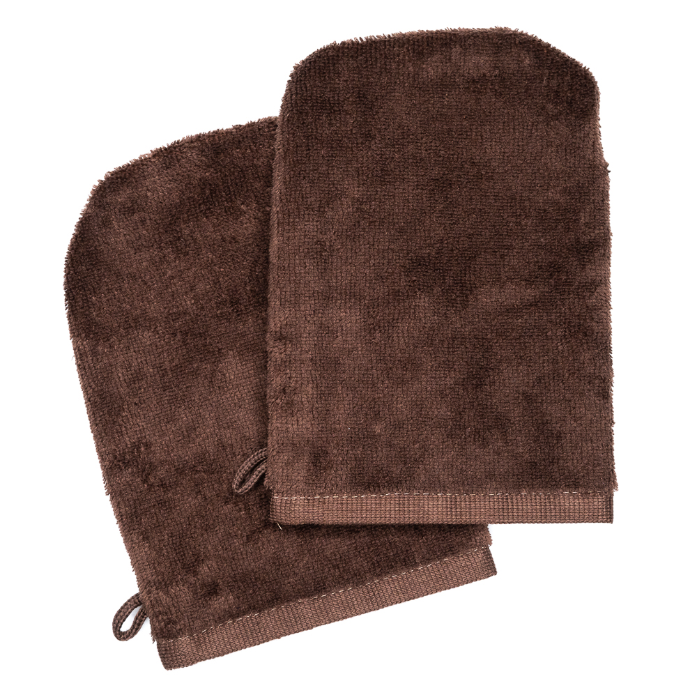 Wash Gloves 14x21 brown (2 items in a pack)