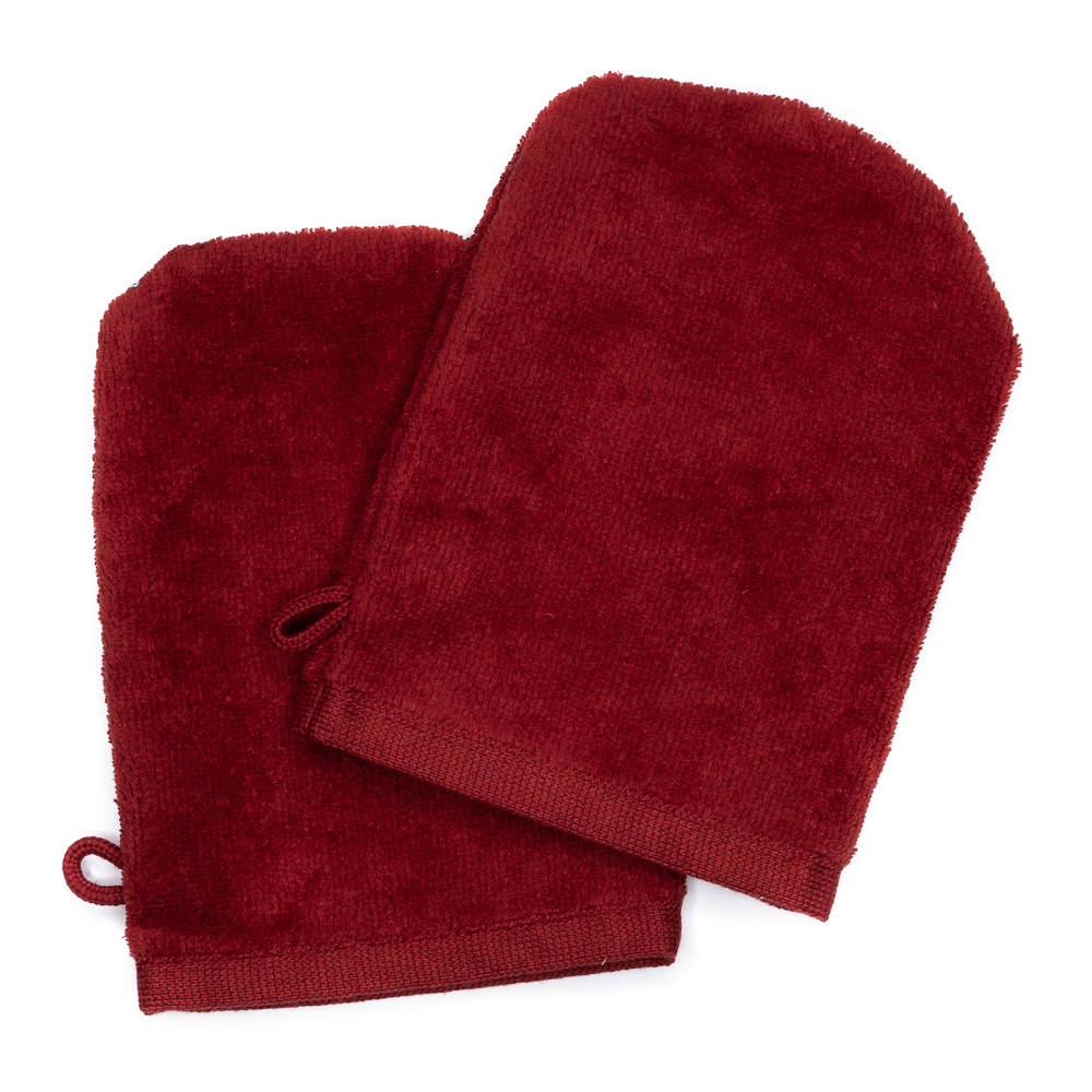 Wash Gloves 14x21 bordeaux (2 items in a pack)