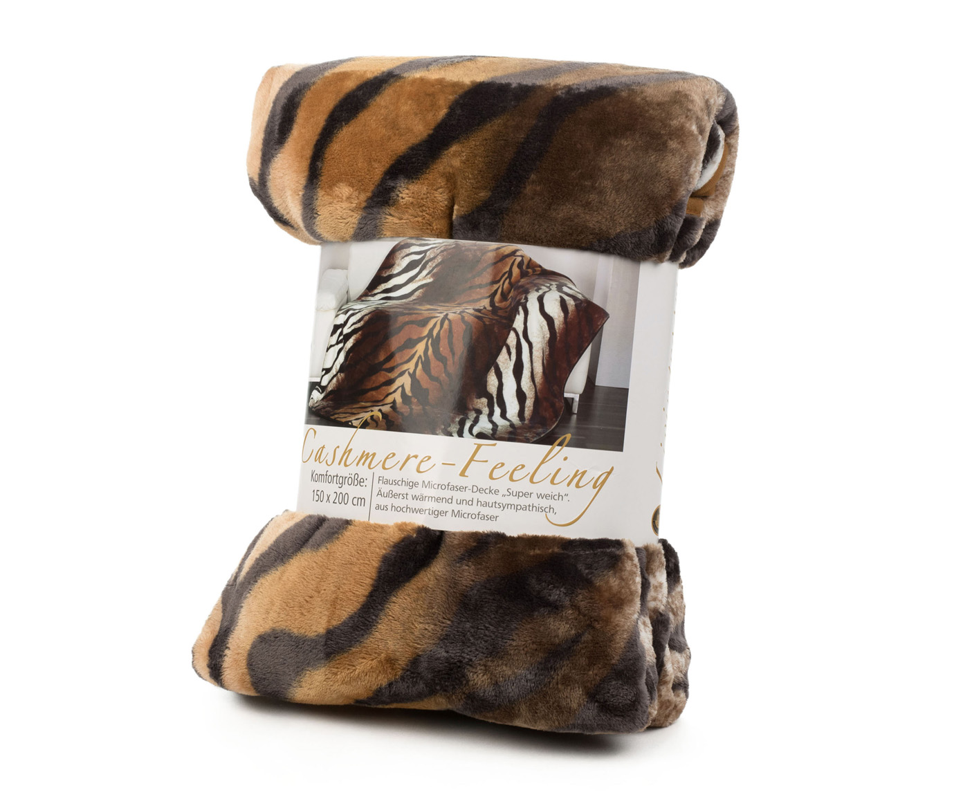Blanket Cashmere Feeling 150x200 Royal Bengal Tiger brown
