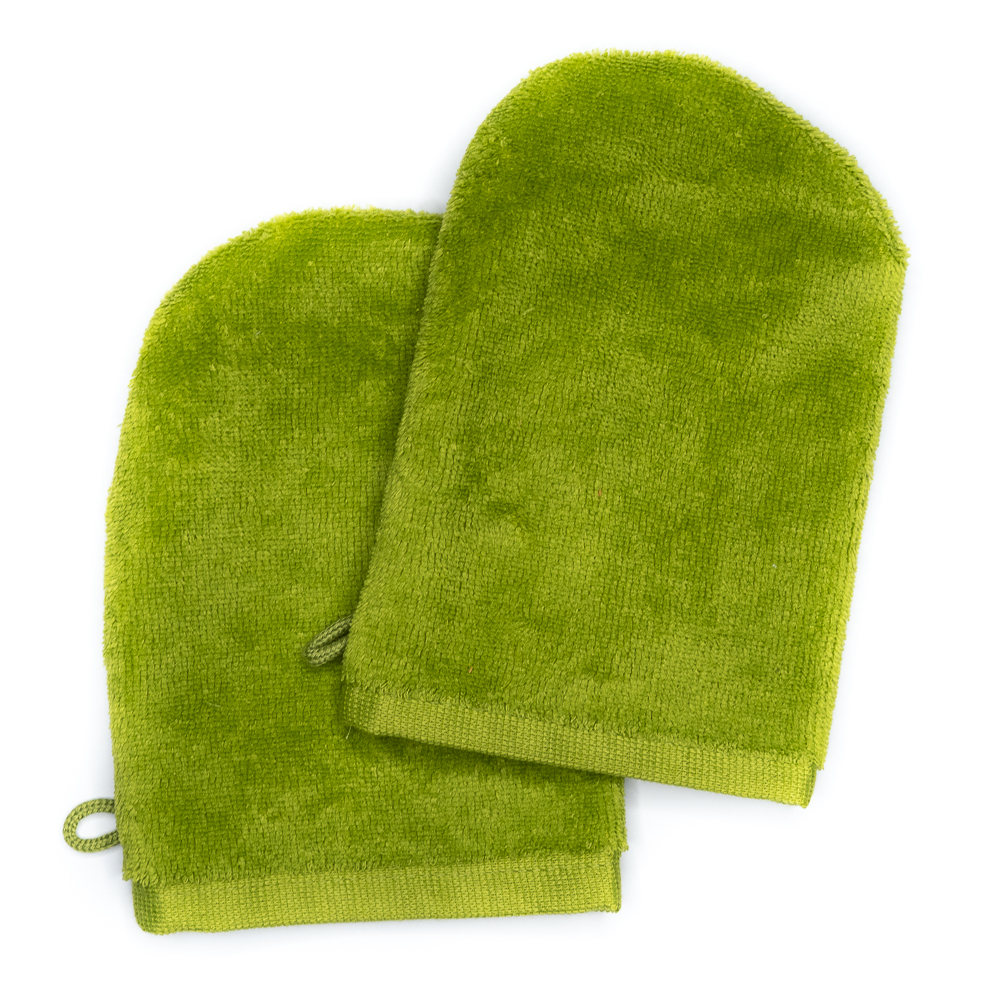 Wash Gloves 14x21 apple green (2 items in a pack)