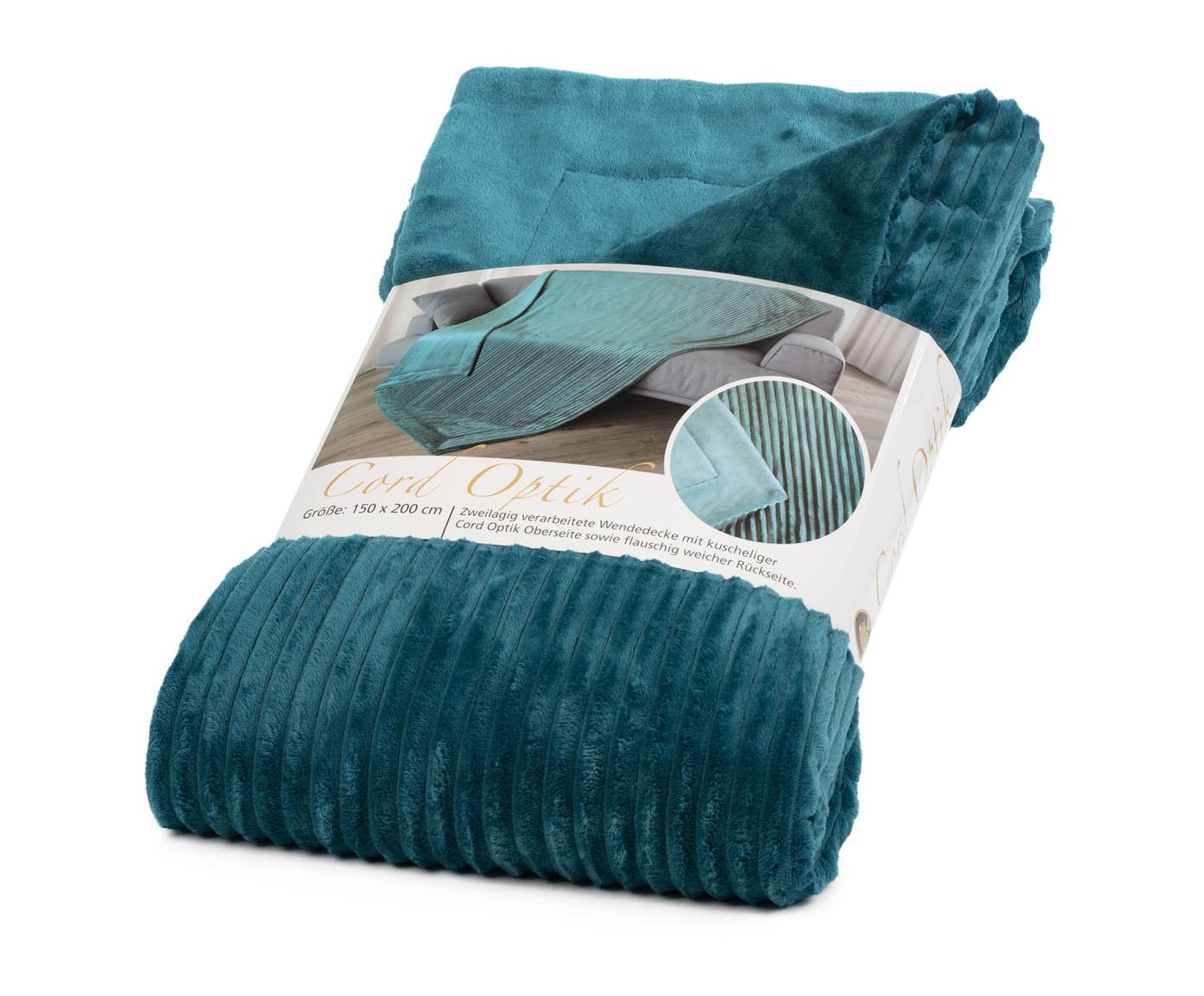 Blankets Cord Optik 150x200 petrol